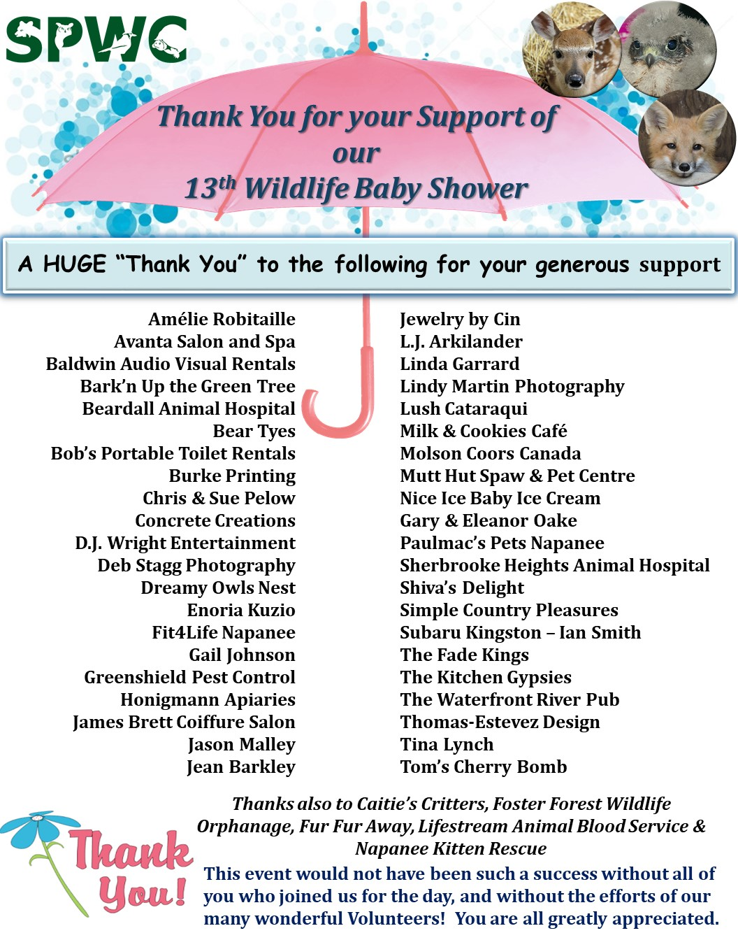 Thank You To All Of Our Media Supporters That Help Get The Word Out Community And Continually Support Efforts At SPWC